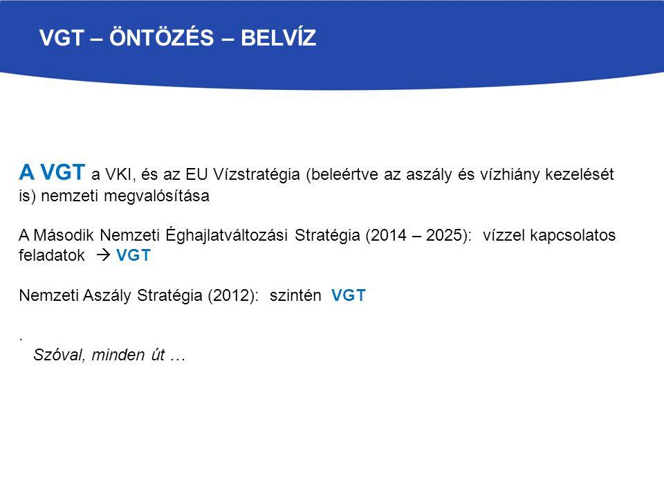 VGT – ÖNTÖZÉS – BELVÍZ A VGT a VKI, és az EU Vízstratégia (beleértve az aszály és vízhiány kezelését is) nemzeti megvalósítása A Második Nemzeti Éghajlatváltozási Stratégia (2014 – 2025): vízzel kapcsolatos feladatok  VGT Nemzeti Aszály Stratégia (2012): szintén VGT.