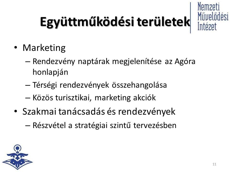 Együttműködési területek Marketing – Rendezvény naptárak megjelenítése az Agóra honlapján – Térségi rendezvények összehangolása – Közös turisztikai, marketing akciók Szakmai tanácsadás és rendezvények – Részvétel a stratégiai szintű tervezésben 11