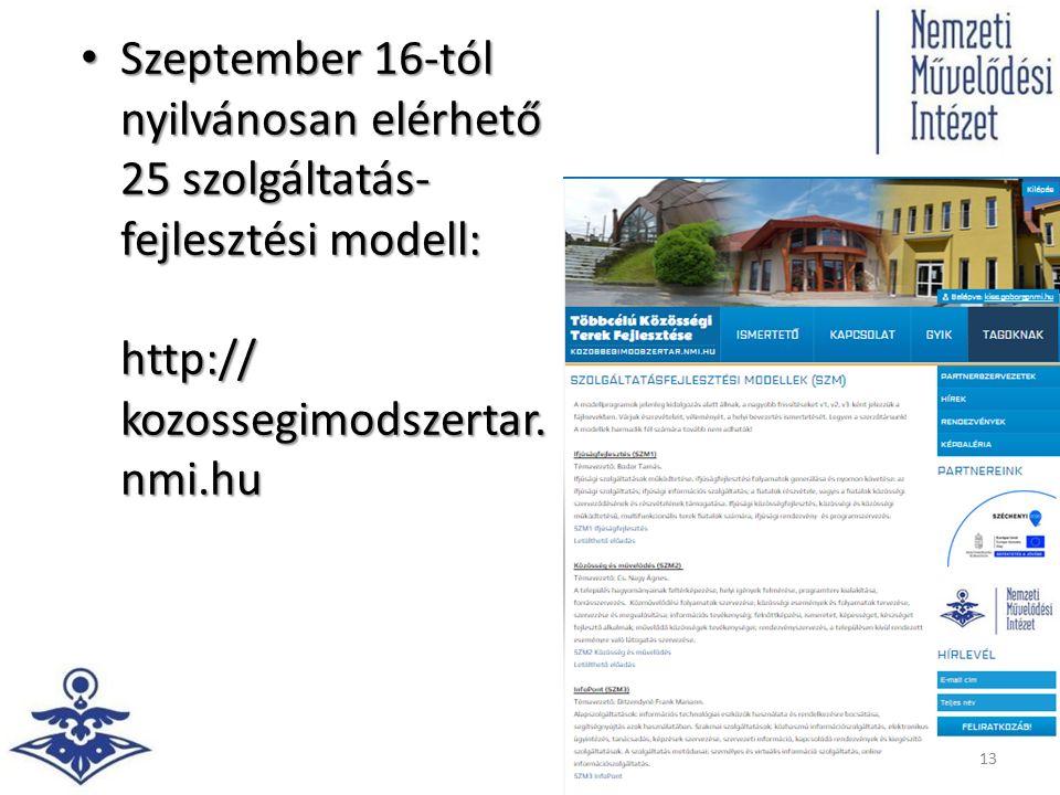 Szeptember 16-tól nyilvánosan elérhető 25 szolgáltatás- fejlesztési modell: http:// kozossegimodszertar. nmi.hu Szeptember 16-tól nyilvánosan elérhető