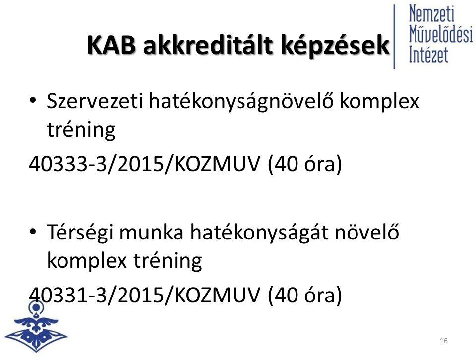 KAB akkreditált képzések Szervezeti hatékonyságnövelő komplex tréning 40333-3/2015/KOZMUV (40 óra) Térségi munka hatékonyságát növelő komplex tréning 40331-3/2015/KOZMUV (40 óra) 16