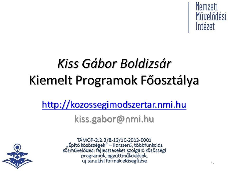 """Kiss Gábor Boldizsár Kiemelt Programok Főosztálya http://kozossegimodszertar.nmi.hu kiss.gabor@nmi.hu 17 TÁMOP-3.2.3/B-12/1C-2013-0001 """"Építő közösség"""