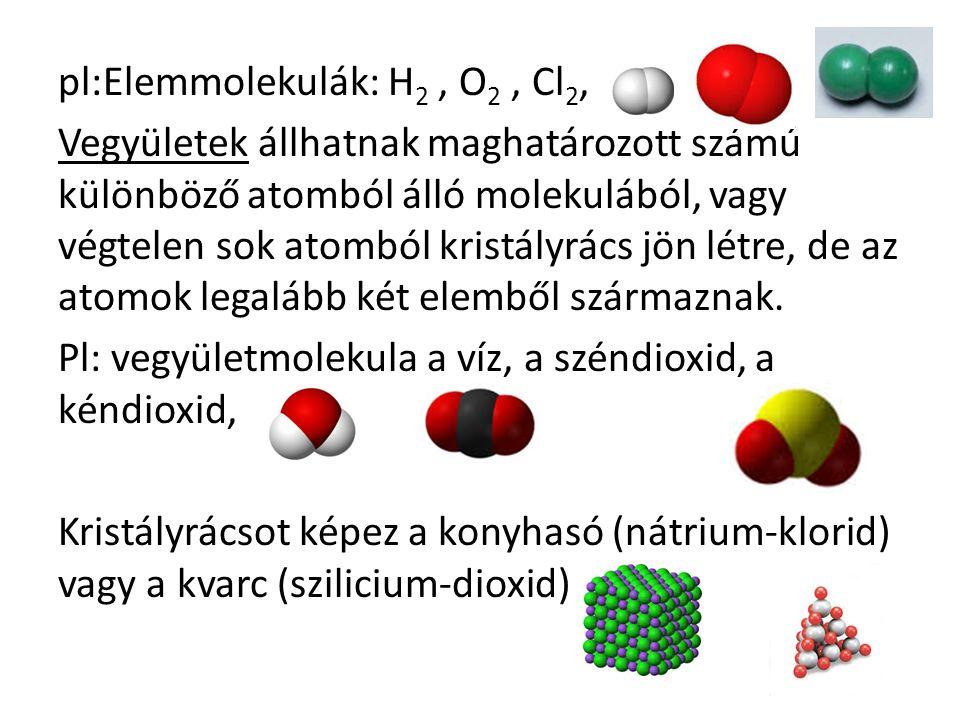 pl:Elemmolekulák: H 2, O 2, Cl 2, Vegyületek állhatnak maghatározott számú különböző atomból álló molekulából, vagy végtelen sok atomból kristályrács