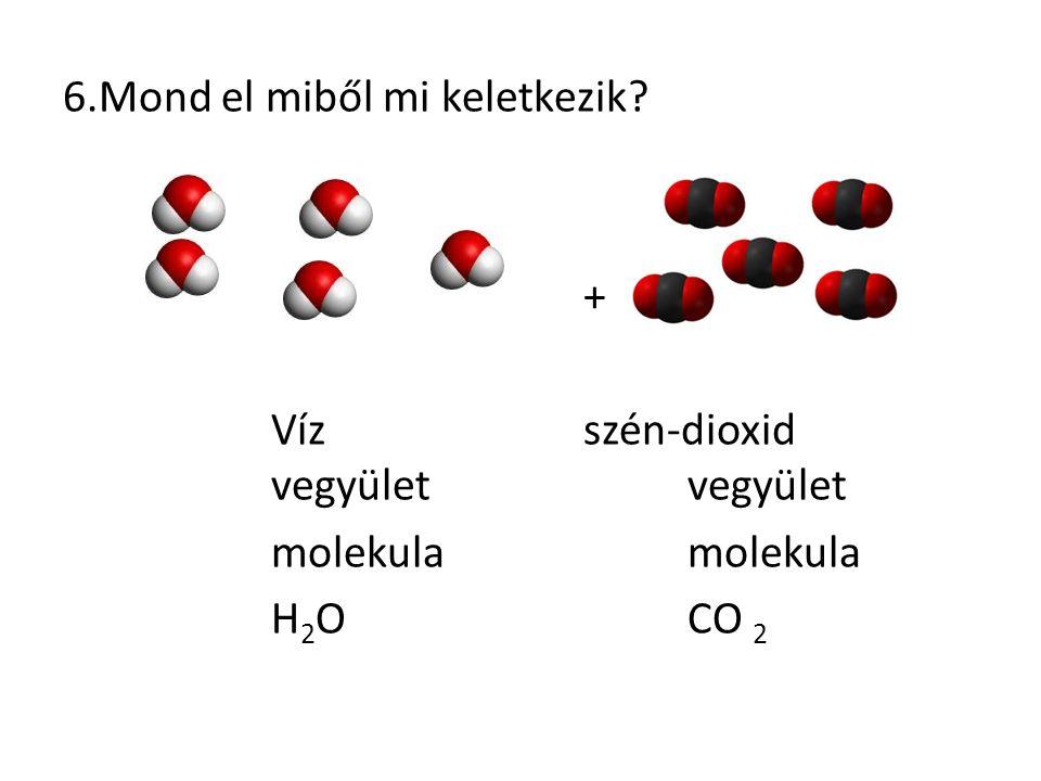 6.Mond el miből mi keletkezik? + Vízszén-dioxid vegyületvegyület molekula H 2 OCO 2
