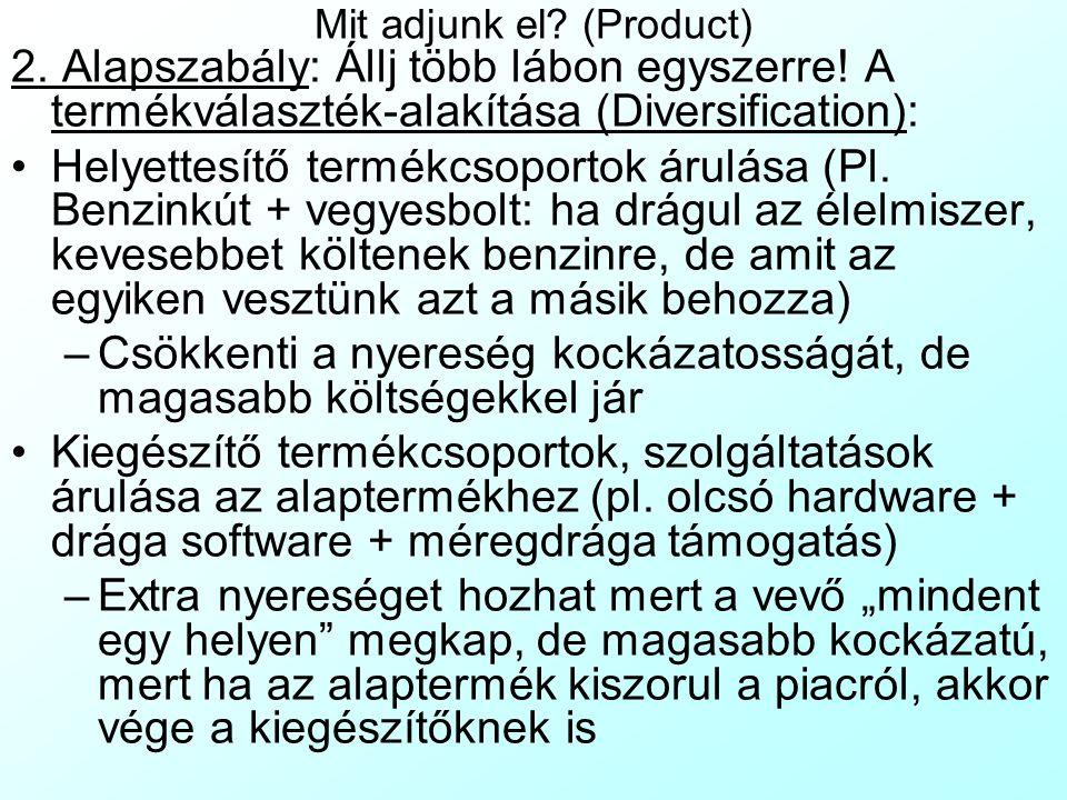 Mit adjunk el? (Product) 2. Alapszabály: Állj több lábon egyszerre! A termékválaszték-alakítása (Diversification): Helyettesítő termékcsoportok árulás