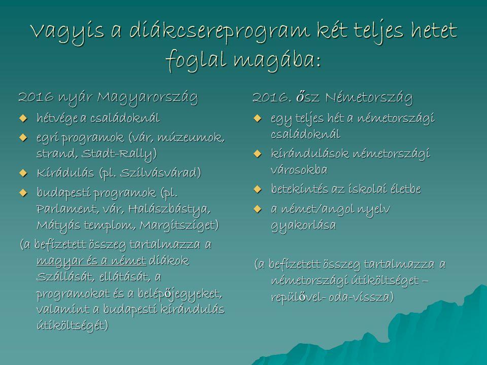 Vagyis a diákcsereprogram két teljes hetet foglal magába: 2016 nyár Magyarország  hétvége a családoknál  egri programok (vár, múzeumok, strand, Stadt-Rally)  Kirádulás (pl.