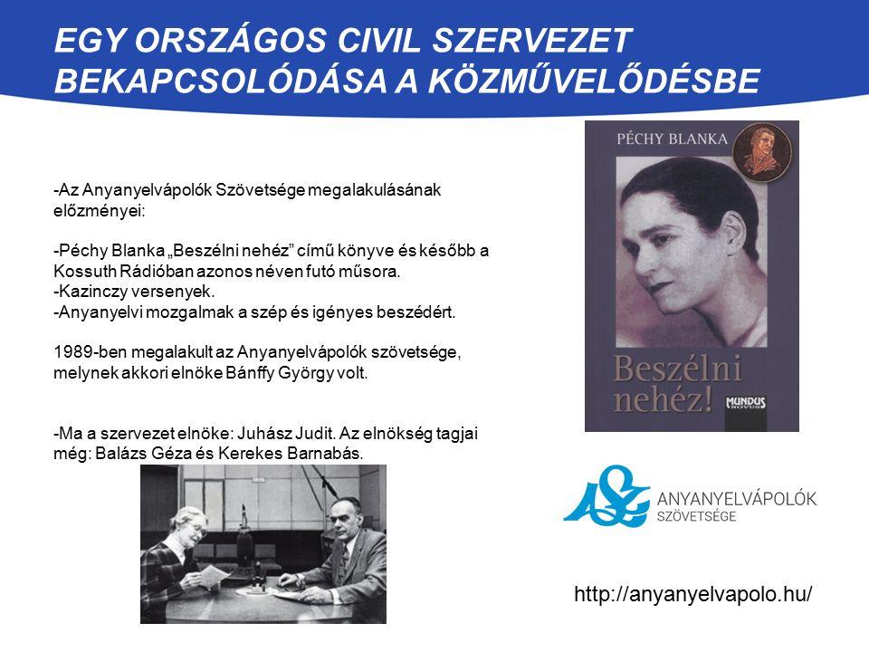 """-Az Anyanyelvápolók Szövetsége megalakulásának előzményei: -Péchy Blanka """"Beszélni nehéz"""" című könyve és később a Kossuth Rádióban azonos néven futó m"""