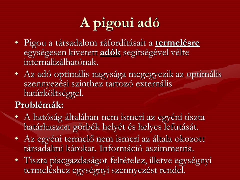 A pigoui adó Pigou a társadalom ráfordításait a termelésre egységesen kivetett adók segítségével vélte internalizálhatónak.Pigou a társadalom ráfordításait a termelésre egységesen kivetett adók segítségével vélte internalizálhatónak.