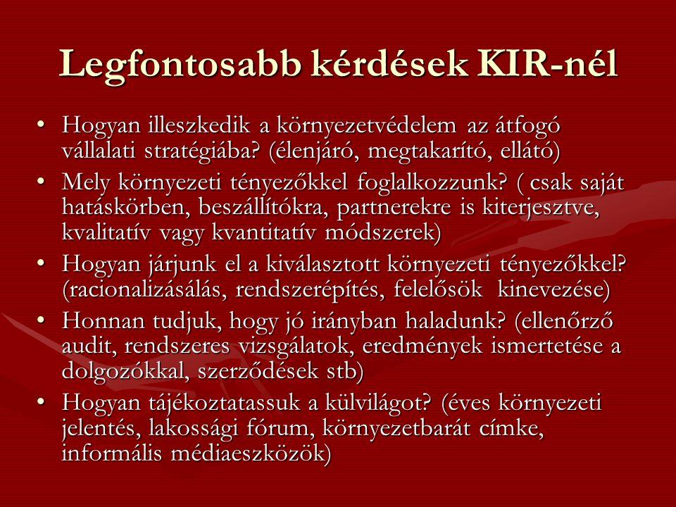 Legfontosabb kérdések KIR-nél Hogyan illeszkedik a környezetvédelem az átfogó vállalati stratégiába.