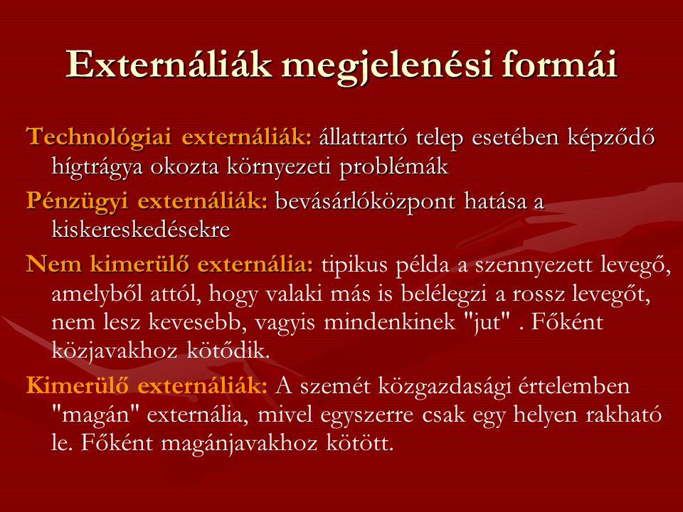 Externáliák kezelésének problémája Környezetpolitikai szempontból az igazi problémát nem az externália fajtája jelenti hanem az, hogy az externália nagysága a szennyező és a szennyezést elviselő áldozat szempontjából különbözőnek adódik.