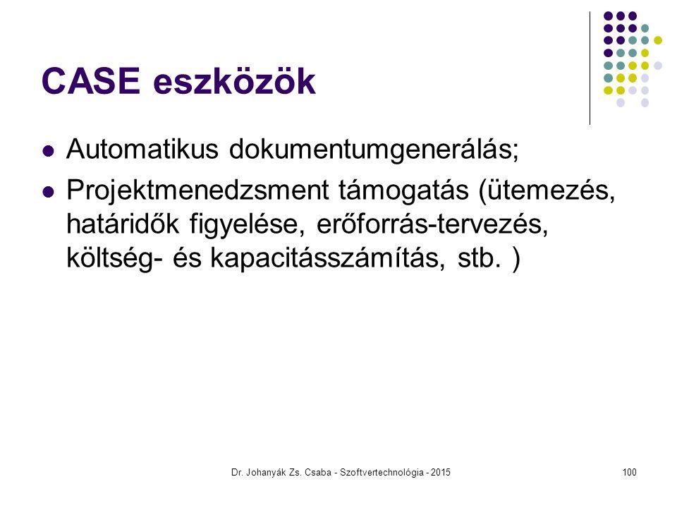 Dr. Johanyák Zs. Csaba - Szoftvertechnológia - 2015 CASE eszközök Automatikus dokumentumgenerálás; Projektmenedzsment támogatás (ütemezés, határidők f