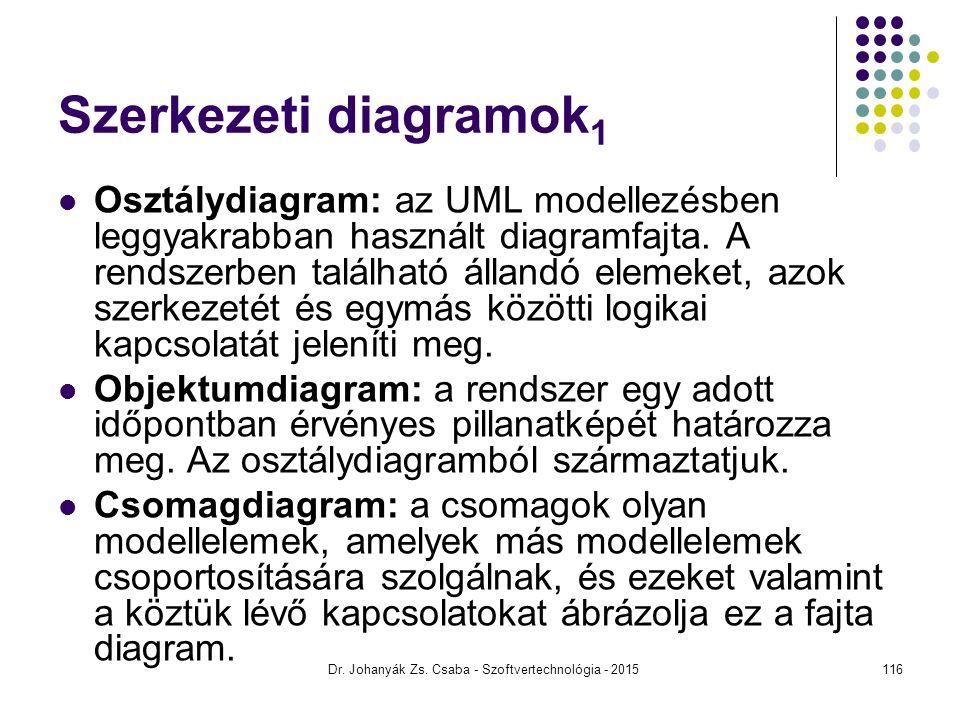 Szerkezeti diagramok 1 Osztálydiagram: az UML modellezésben leggyakrabban használt diagramfajta. A rendszerben található állandó elemeket, azok szerke