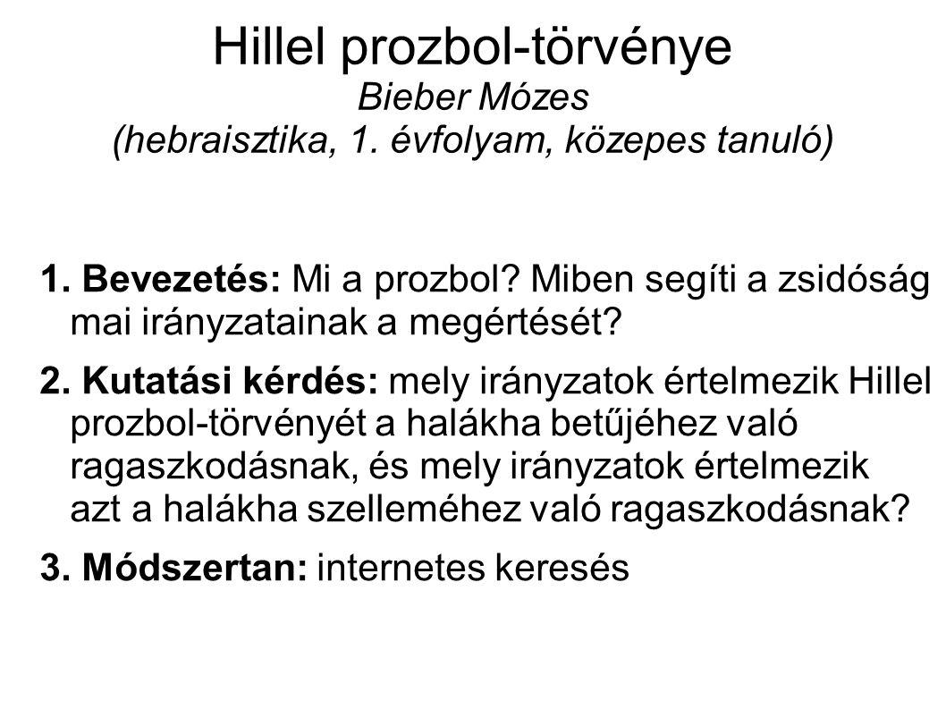 Hillel prozbol-törvénye Bieber Mózes (hebraisztika, 1.