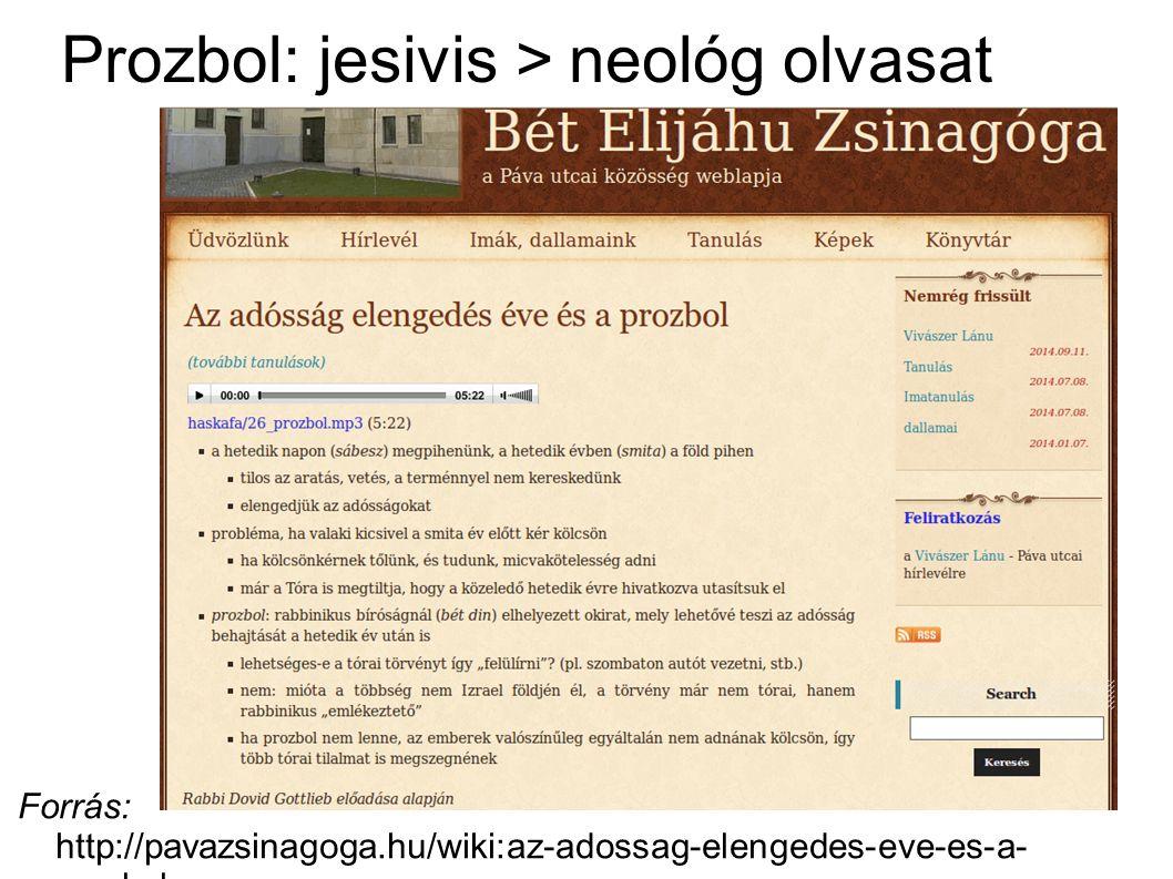 Prozbol: jesivis > neológ olvasat Forrás: http://pavazsinagoga.hu/wiki:az-adossag-elengedes-eve-es-a- prozbol