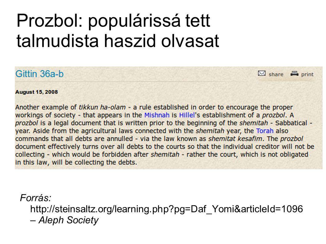 Prozbol: populárissá tett talmudista haszid olvasat Forrás: http://steinsaltz.org/learning.php pg=Daf_Yomi&articleId=1096 – Aleph Society
