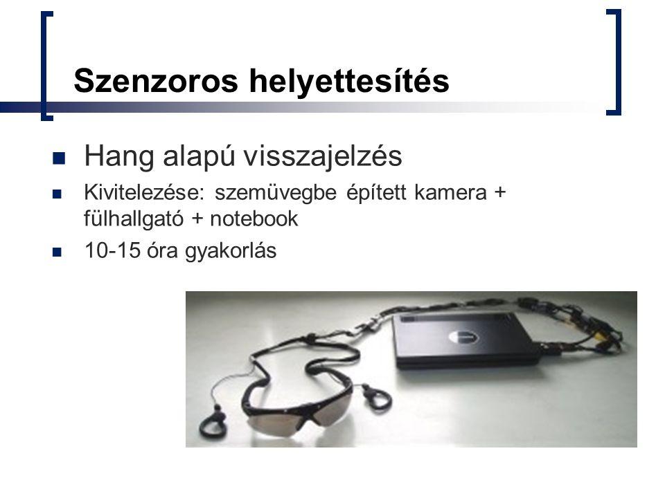 Szenzoros helyettesítés Hang alapú visszajelzés Kivitelezése: szemüvegbe épített kamera + fülhallgató + notebook 10-15 óra gyakorlás