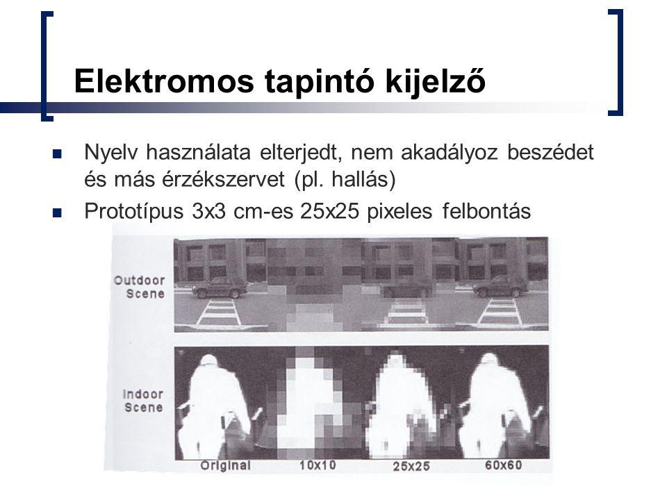 Elektromos tapintó kijelző Nyelv használata elterjedt, nem akadályoz beszédet és más érzékszervet (pl. hallás) Prototípus 3x3 cm-es 25x25 pixeles felb