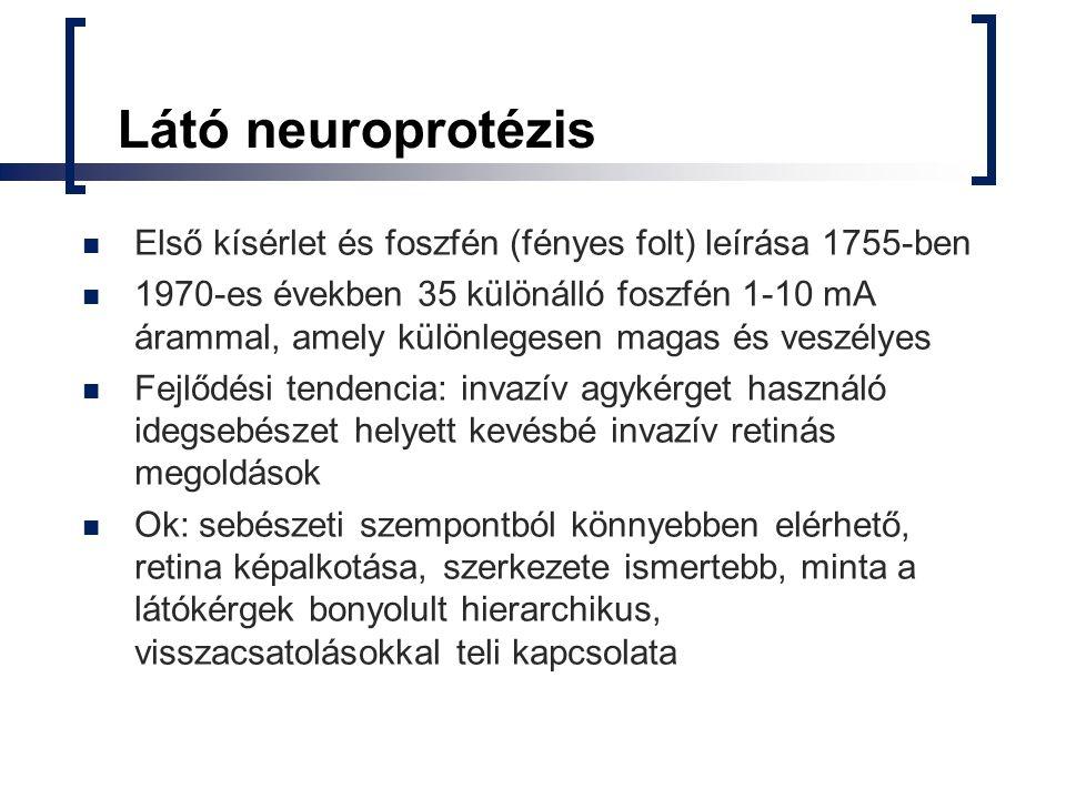 Látó neuroprotézis Első kísérlet és foszfén (fényes folt) leírása 1755-ben 1970-es években 35 különálló foszfén 1-10 mA árammal, amely különlegesen ma