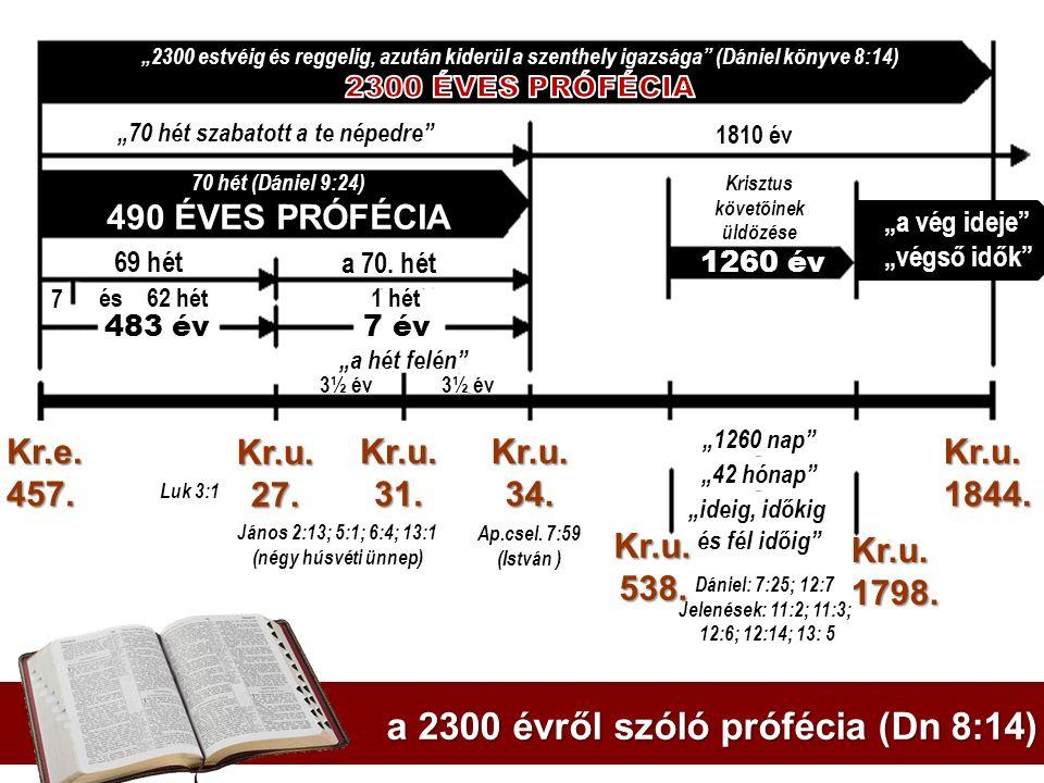 """70 hét (Dániel 9:24) 490 ÉVES PRÓFÉCIA """"70 hét szabatott a te népedre"""" 1260 év 7 és 62 hét 69 hét a 70. hét 483 év 7 év """"a hét felén"""" 3½ év 1 hét """"126"""