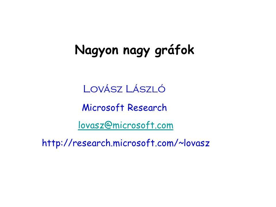 Nagyon nagy gráfok Lovász László Microsoft Research lovasz@microsoft.com http://research.microsoft.com/~lovasz