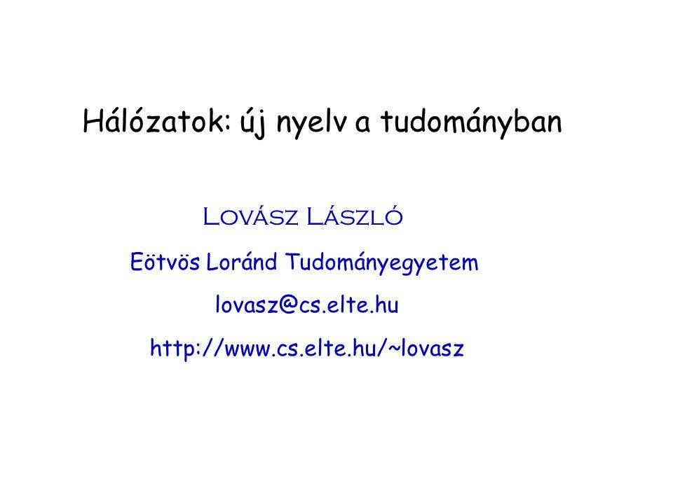 Hálózatok: új nyelv a tudományban Lovász László Eötvös Loránd Tudományegyetem lovasz@cs.elte.hu http://www.cs.elte.hu/~lovasz
