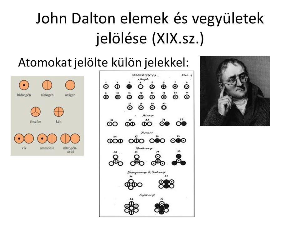 John Dalton elemek és vegyületek jelölése (XIX.sz.) Atomokat jelölte külön jelekkel: