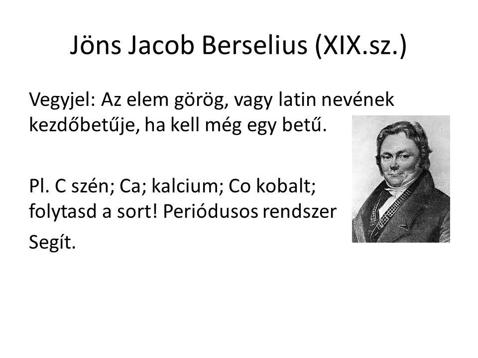 Jöns Jacob Berselius (XIX.sz.) Vegyjel: Az elem görög, vagy latin nevének kezdőbetűje, ha kell még egy betű.
