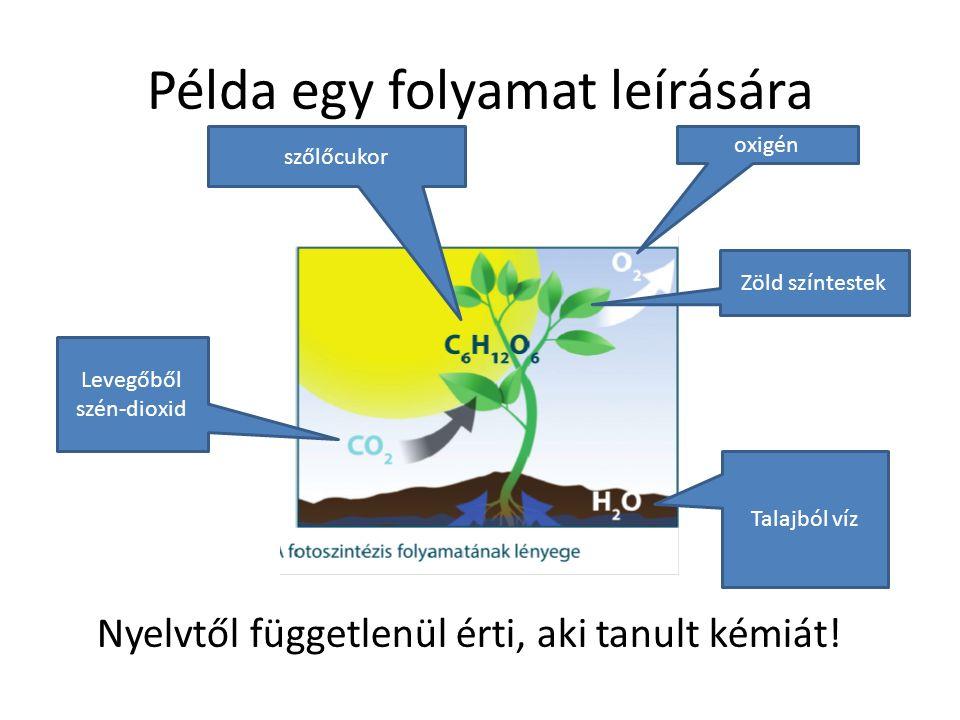 Példa egy folyamat leírására Talajból víz Levegőből szén-dioxid Zöld színtestek szőlőcukor oxigén Nyelvtől függetlenül érti, aki tanult kémiát!