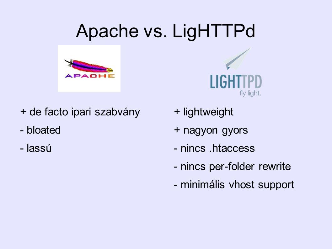 Apache vs. LigHTTPd + de facto ipari szabvány - bloated - lassú + lightweight + nagyon gyors - nincs.htaccess - nincs per-folder rewrite - minimális v