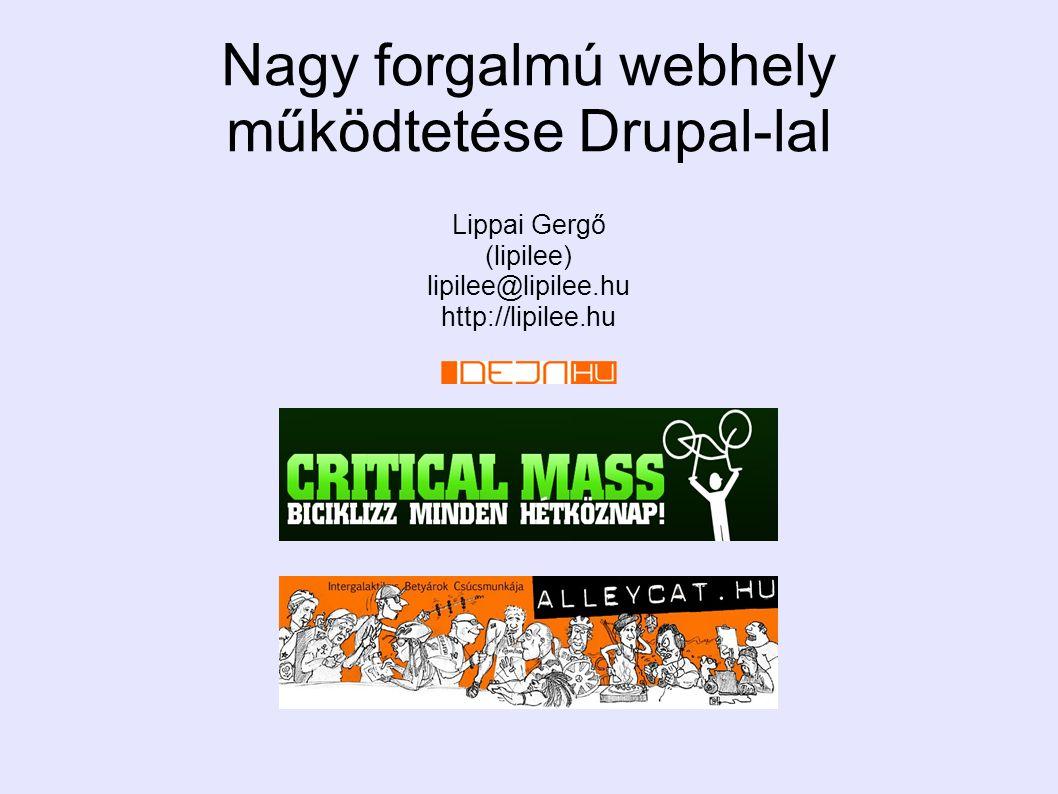 Lippai Gergő (lipilee) lipilee@lipilee.hu http://lipilee.hu Nagy forgalmú webhely működtetése Drupal-lal