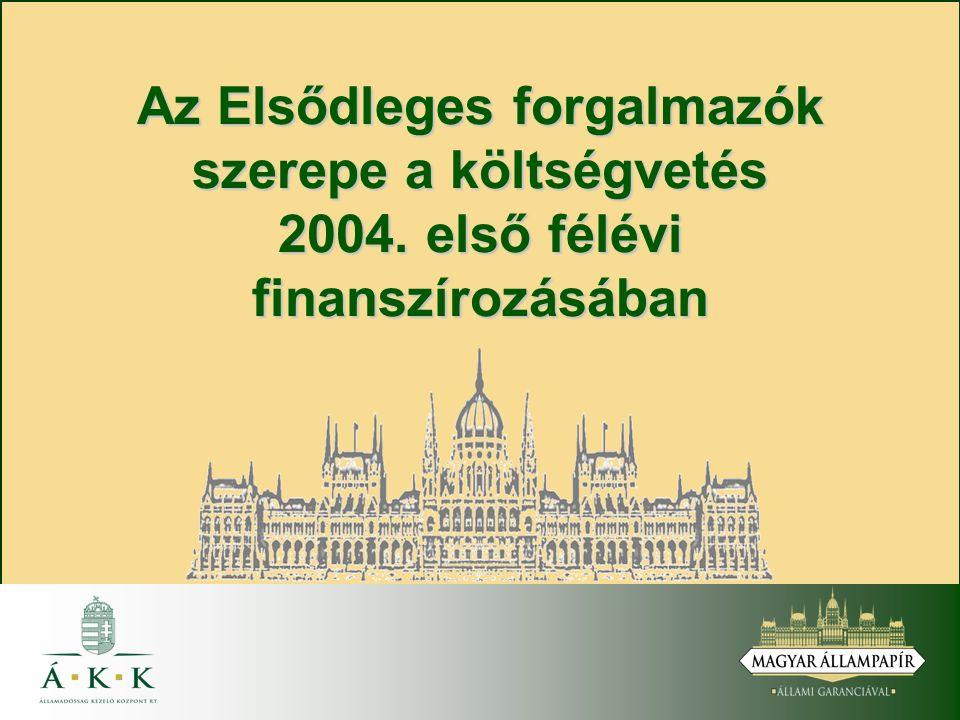 Az Elsődleges forgalmazók szerepe a költségvetés 2004. első félévi finanszírozásában