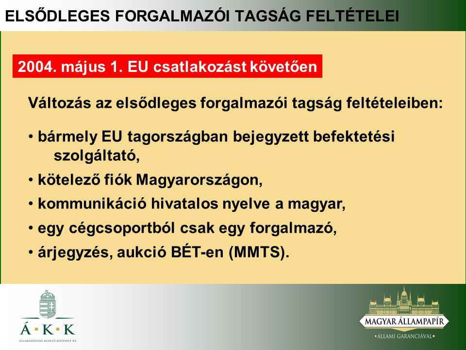 Változás az elsődleges forgalmazói tagság feltételeiben: bármely EU tagországban bejegyzett befektetési szolgáltató, kötelező fiók Magyarországon, kommunikáció hivatalos nyelve a magyar, egy cégcsoportból csak egy forgalmazó, árjegyzés, aukció BÉT-en (MMTS).