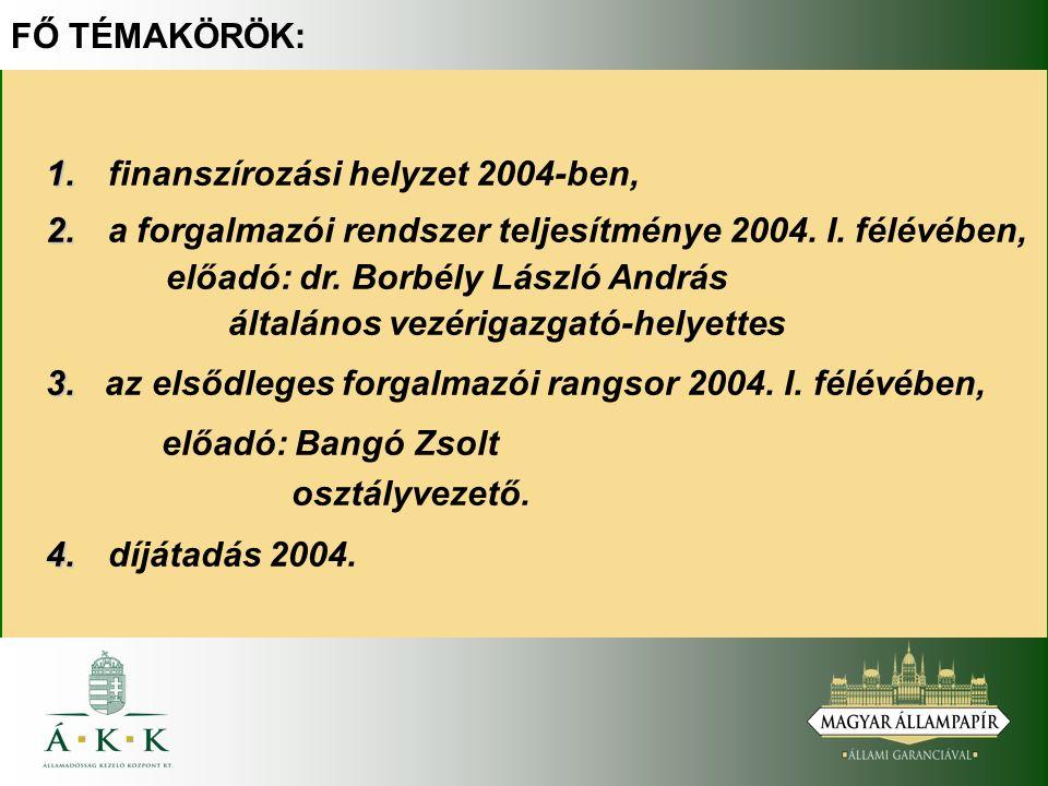 FŐ TÉMAKÖRÖK: 1. 1. finanszírozási helyzet 2004-ben, 2.
