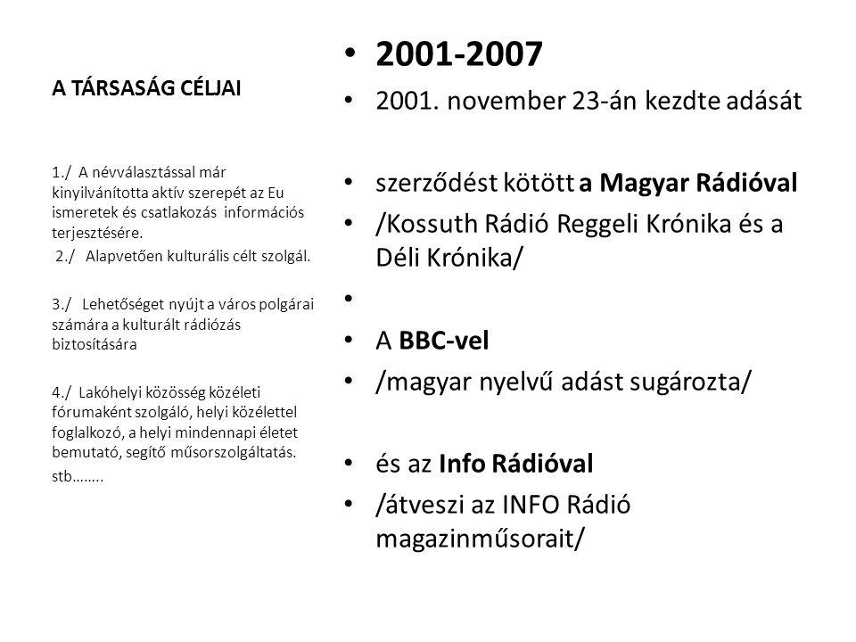 A TÁRSASÁG CÉLJAI 2001-2007 2001. november 23-án kezdte adását szerződést kötött a Magyar Rádióval /Kossuth Rádió Reggeli Krónika és a Déli Krónika/ A