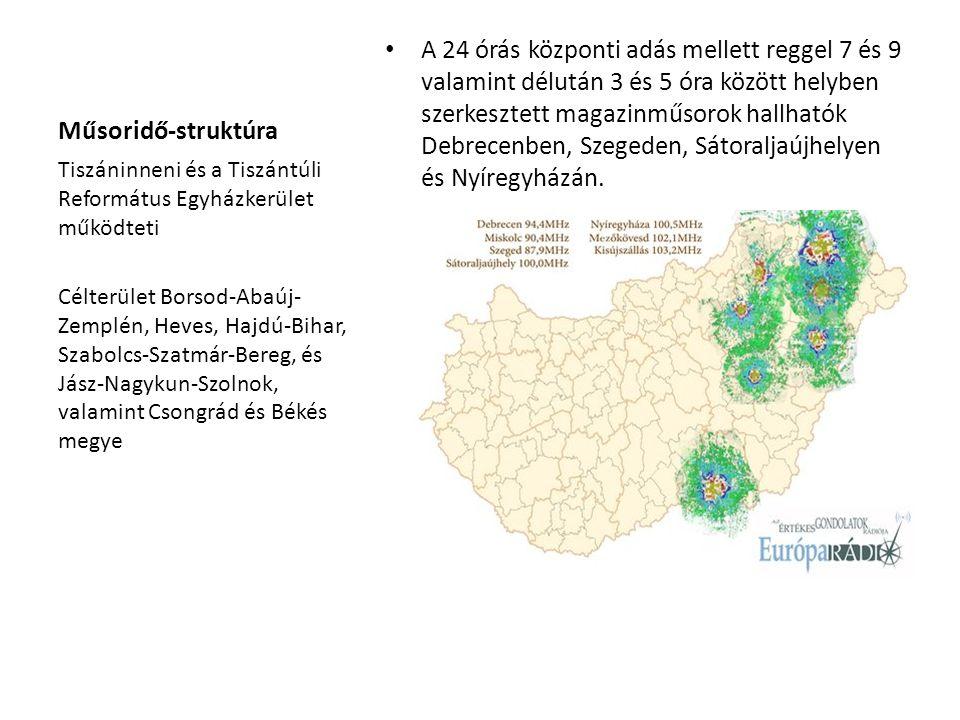 Műsoridő-struktúra A 24 órás központi adás mellett reggel 7 és 9 valamint délután 3 és 5 óra között helyben szerkesztett magazinműsorok hallhatók Debrecenben, Szegeden, Sátoraljaújhelyen és Nyíregyházán.