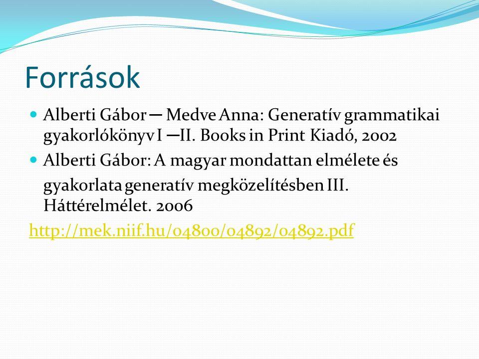 Források Alberti Gábor ─ Medve Anna: Generatív grammatikai gyakorlókönyv I ─ II. Books in Print Kiadó, 2002 Alberti Gábor: A magyar mondattan elmélete