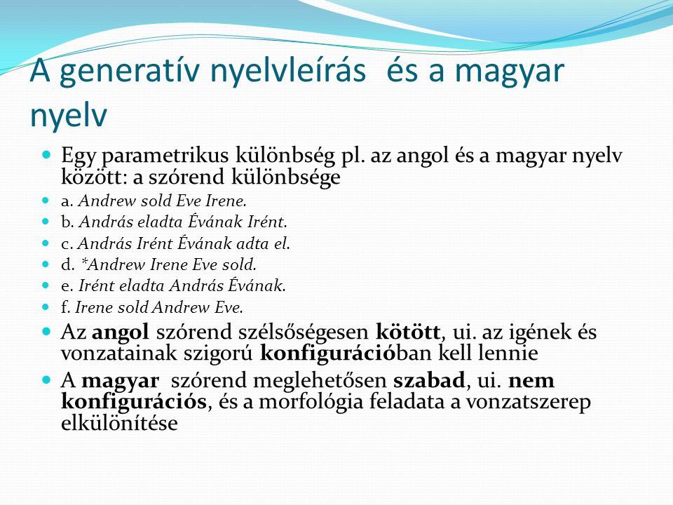 A generatív nyelvleírás és a magyar nyelv Egy parametrikus különbség pl. az angol és a magyar nyelv között: a szórend különbsége a. Andrew sold Eve Ir