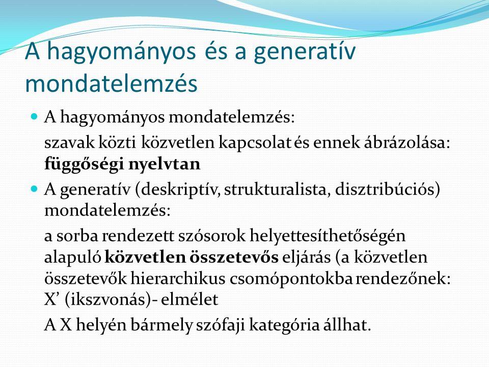 A hagyományos és a generatív mondatelemzés A hagyományos mondatelemzés: szavak közti közvetlen kapcsolat és ennek ábrázolása: függőségi nyelvtan A gen