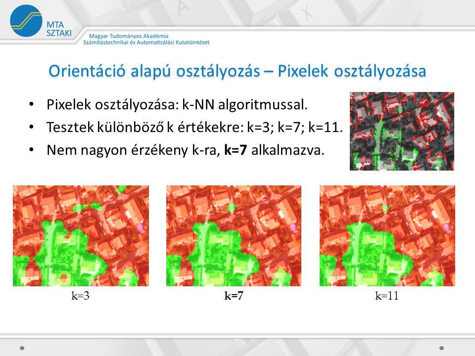 Orientáció alapú osztályozás – Pixelek osztályozása Pixelek osztályozása: k-NN algoritmussal. Tesztek különböző k értékekre: k=3; k=7; k=11. Nem nagyo