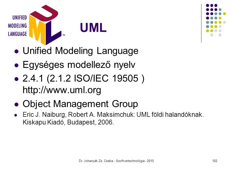 Dr. Johanyák Zs. Csaba - Szoftvertechnológia - 2015 UML Unified Modeling Language Egységes modellező nyelv 2.4.1 (2.1.2 ISO/IEC 19505 ) http://www.uml
