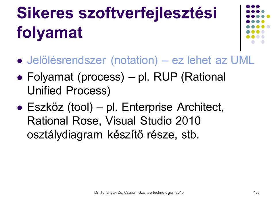 Sikeres szoftverfejlesztési folyamat Jelölésrendszer (notation) – ez lehet az UML Folyamat (process) – pl. RUP (Rational Unified Process) Eszköz (tool