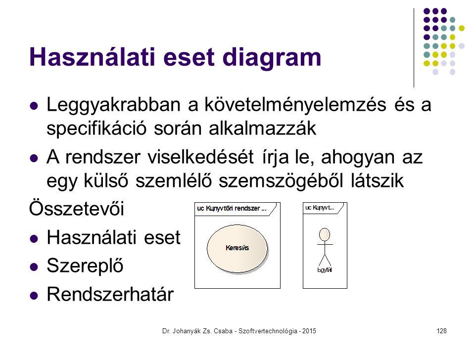 Dr. Johanyák Zs. Csaba - Szoftvertechnológia - 2015 Használati eset diagram Leggyakrabban a követelményelemzés és a specifikáció során alkalmazzák A r