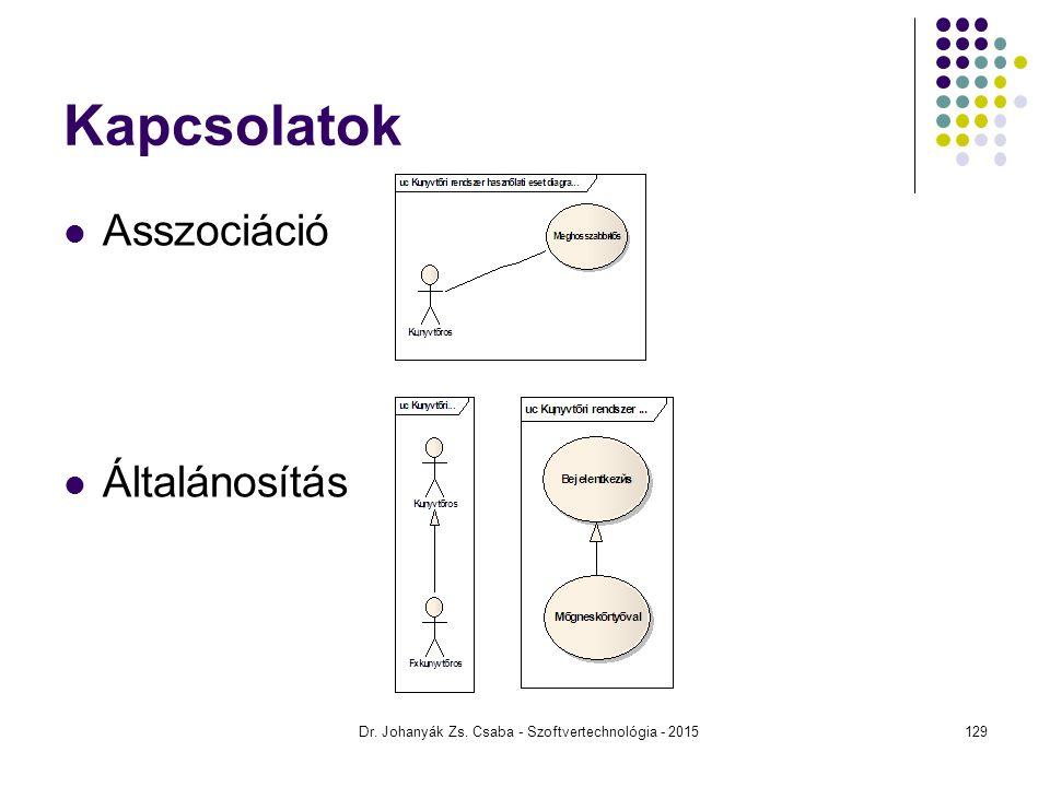 Dr. Johanyák Zs. Csaba - Szoftvertechnológia - 2015 Kapcsolatok Asszociáció Általánosítás 129