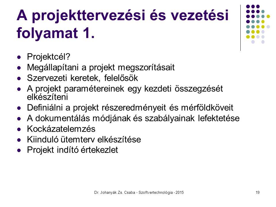 A projekttervezési és vezetési folyamat 1. Projektcél? Megállapítani a projekt megszorításait Szervezeti keretek, felelősök A projekt paramétereinek e