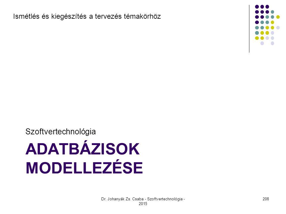 ADATBÁZISOK MODELLEZÉSE Szoftvertechnológia Dr. Johanyák Zs. Csaba - Szoftvertechnológia - 2015 Ismétlés és kiegészítés a tervezés témakörhöz 208