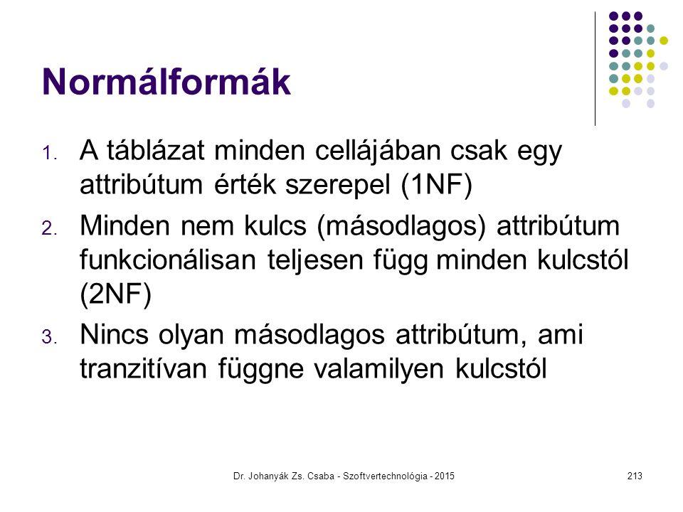 Normálformák 1. A táblázat minden cellájában csak egy attribútum érték szerepel (1NF) 2. Minden nem kulcs (másodlagos) attribútum funkcionálisan telje