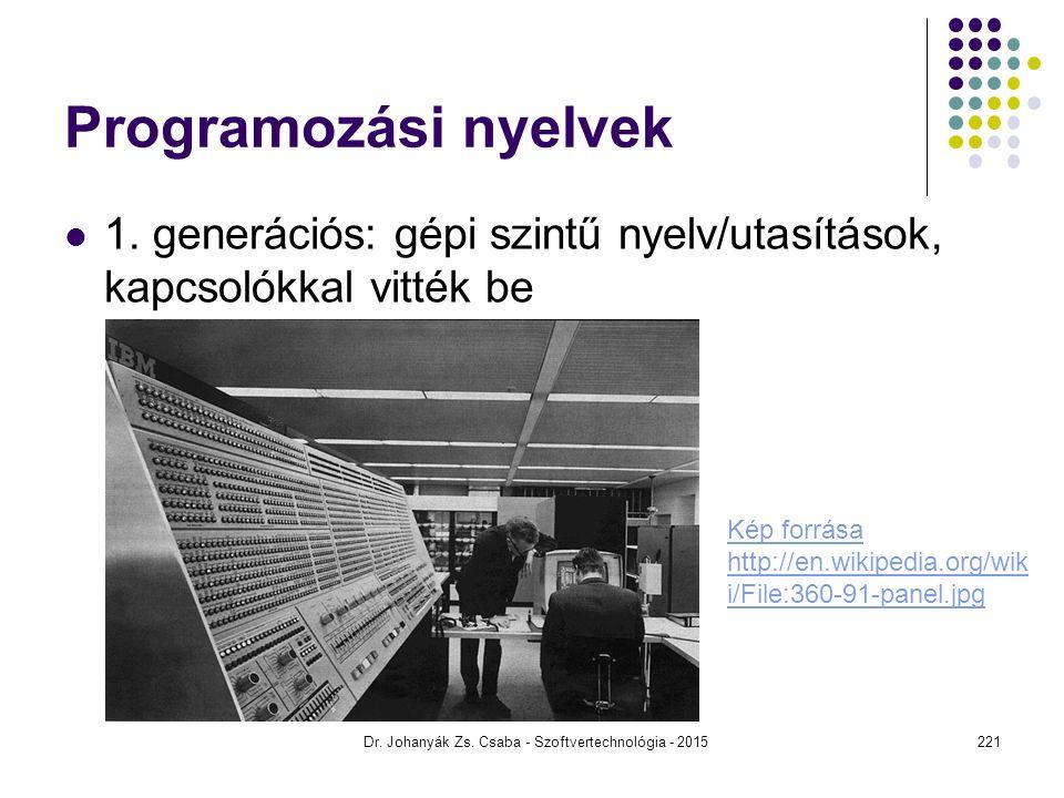 Programozási nyelvek 1. generációs: gépi szintű nyelv/utasítások, kapcsolókkal vitték be Dr. Johanyák Zs. Csaba - Szoftvertechnológia - 2015 Kép forrá