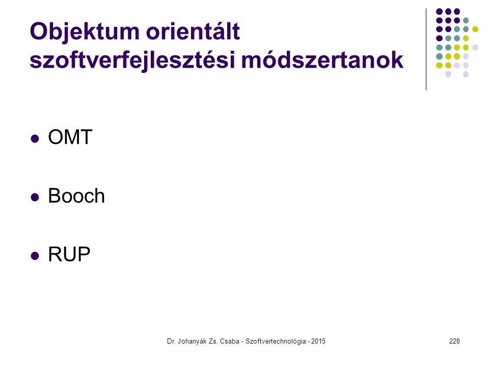 Objektum orientált szoftverfejlesztési módszertanok OMT Booch RUP Dr. Johanyák Zs. Csaba - Szoftvertechnológia - 2015228
