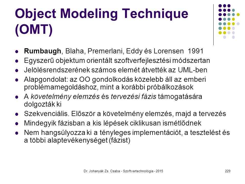 Dr. Johanyák Zs. Csaba - Szoftvertechnológia - 2015 Object Modeling Technique (OMT) Rumbaugh, Blaha, Premerlani, Eddy és Lorensen 1991 Egyszerű objekt