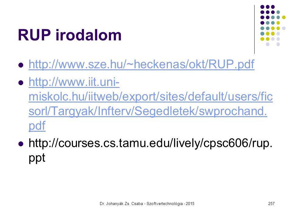 RUP irodalom http://www.sze.hu/~heckenas/okt/RUP.pdf http://www.iit.uni- miskolc.hu/iitweb/export/sites/default/users/fic sorl/Targyak/Infterv/Segedle