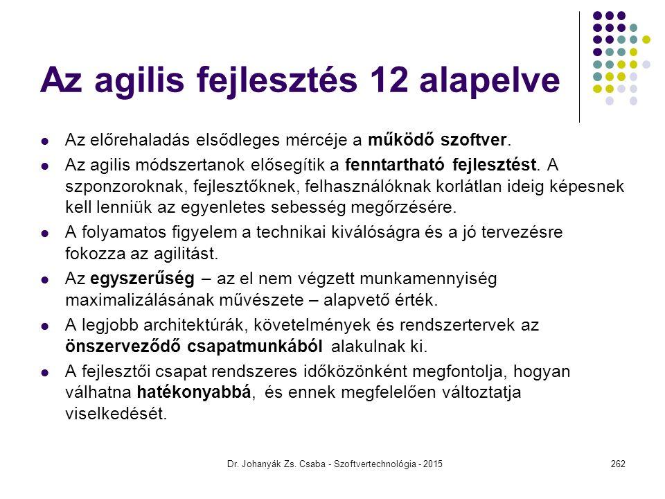 Az agilis fejlesztés 12 alapelve Az előrehaladás elsődleges mércéje a működő szoftver. Az agilis módszertanok elősegítik a fenntartható fejlesztést. A